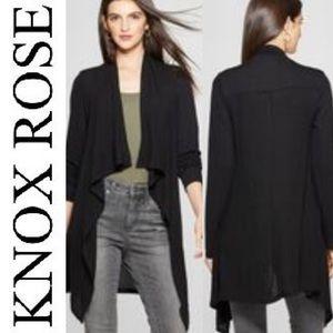 Knox Rose black waffle open sweater cardigan M